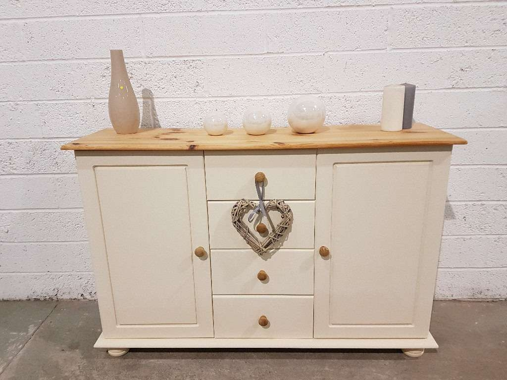 Shabby Chic Pine Sideboard In Rustoleum Clotted Cream Chalk Paint With Regard To Chalk Painted Sideboards (View 13 of 20)