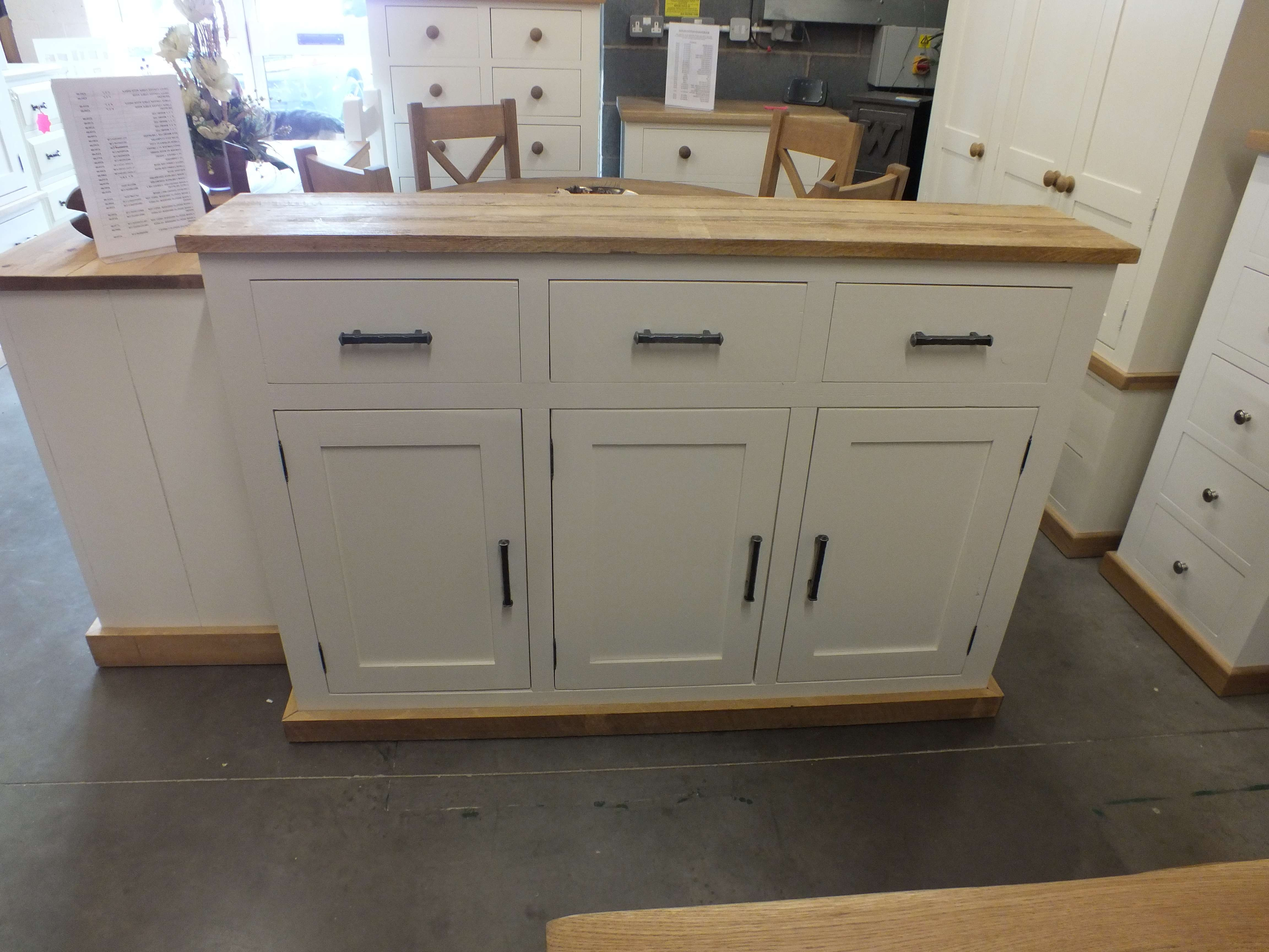 Shabby Painted Large 3 Door Narrow Sideboard  F&b Pointing Buy Online With Narrow Sideboards (View 16 of 20)