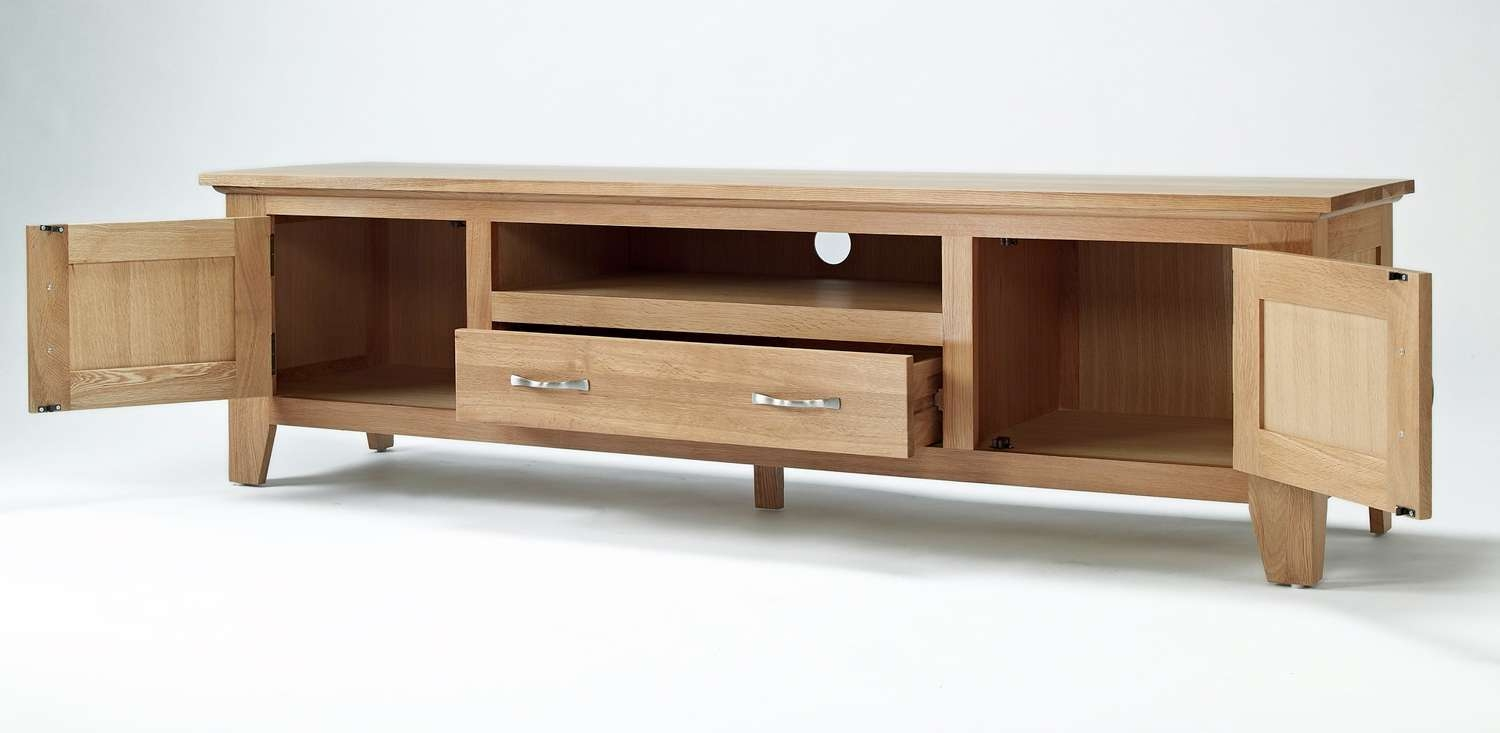 Sherwood Oak Large Tv Unit In Wide Tv Cabinets (View 13 of 20)