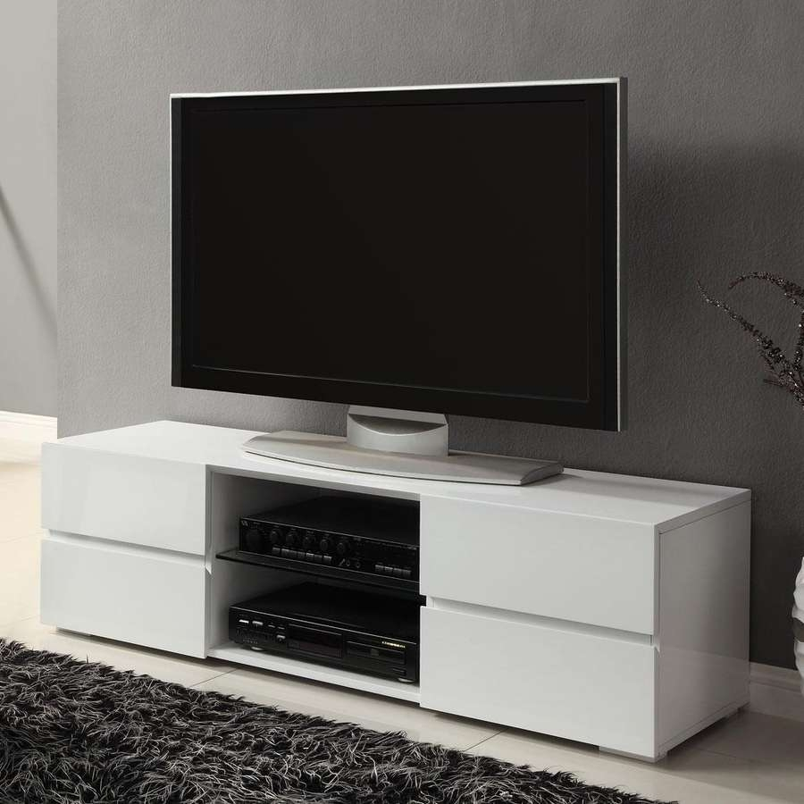 Shop Coaster Fine Furniture High Gloss White Tv Cabinet At Lowes Throughout High Gloss White Tv Cabinets (View 16 of 20)