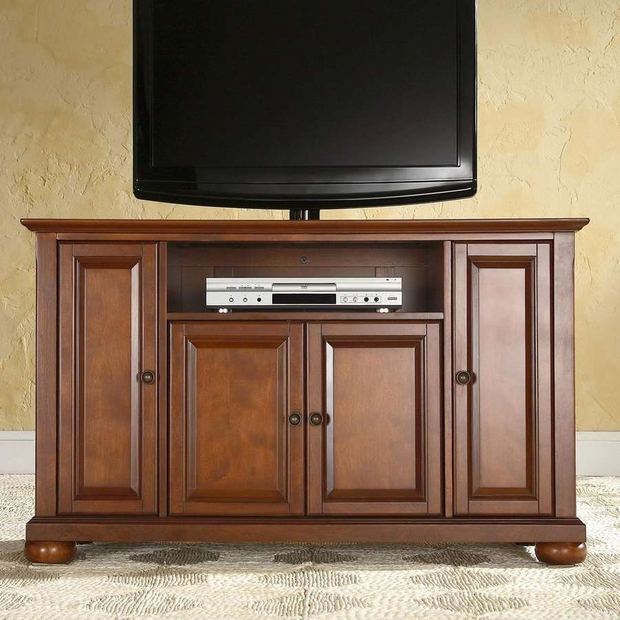 Shop Crosley Furniture Alexandria Classic Cherry Tv Cabinet At Throughout Enclosed Tv Cabinets With Doors (View 16 of 20)