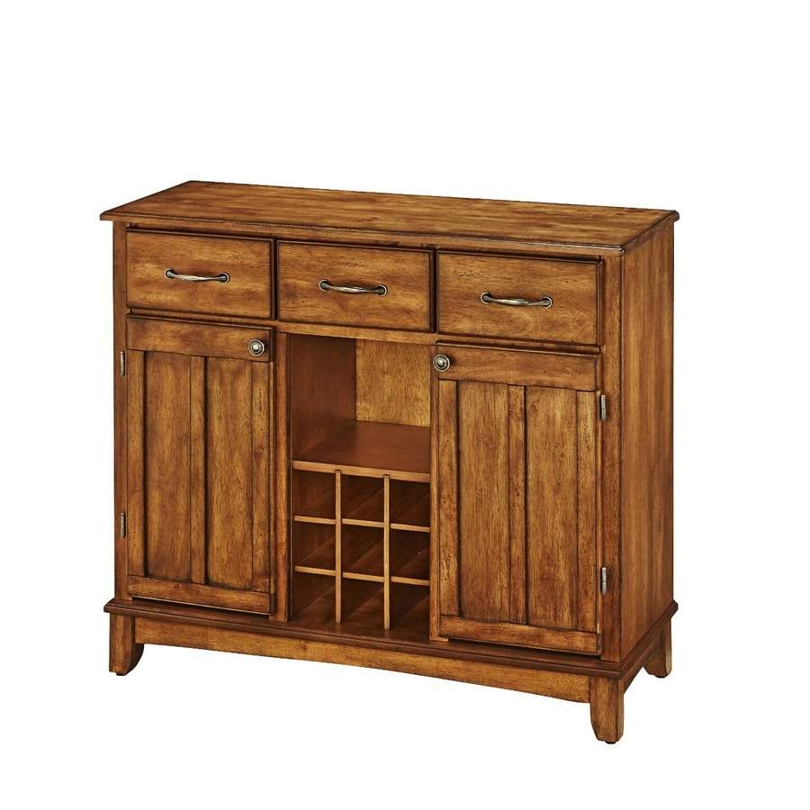 Shop Home Styles Cottage Oak Wood Sideboard With Wine Storage At Pertaining To Wine Sideboards (View 15 of 20)