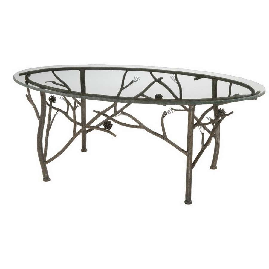 Shop Stone County Ironworks Pine Natural Black Metal Oval Coffee Pertaining To Popular Metal Oval Coffee Tables (View 16 of 20)