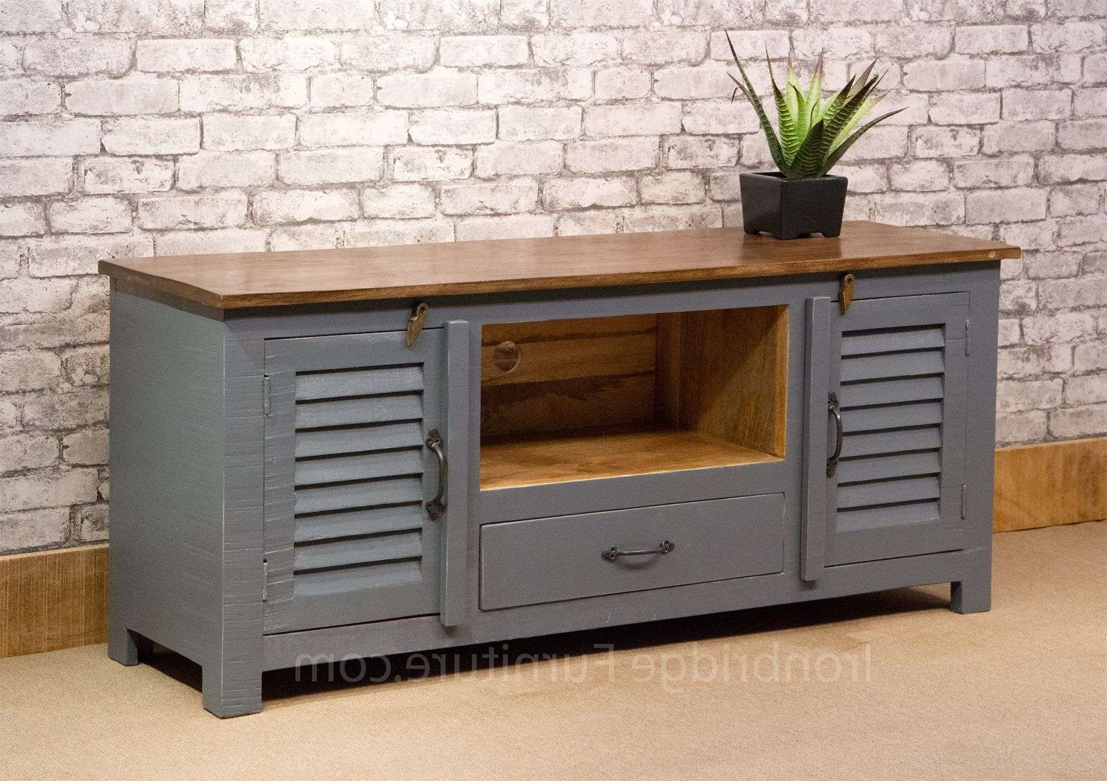 Si 518 Vintage Style Painted Long Tv Cabinet – Dusky Grey Inside Vintage Style Tv Cabinets (View 6 of 20)