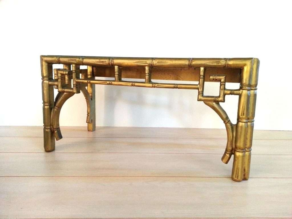 Side Table ~ Bamboo Side Table Vintage Faux Coffee Regency Gold Regarding  Recent Gold Bamboo Coffee