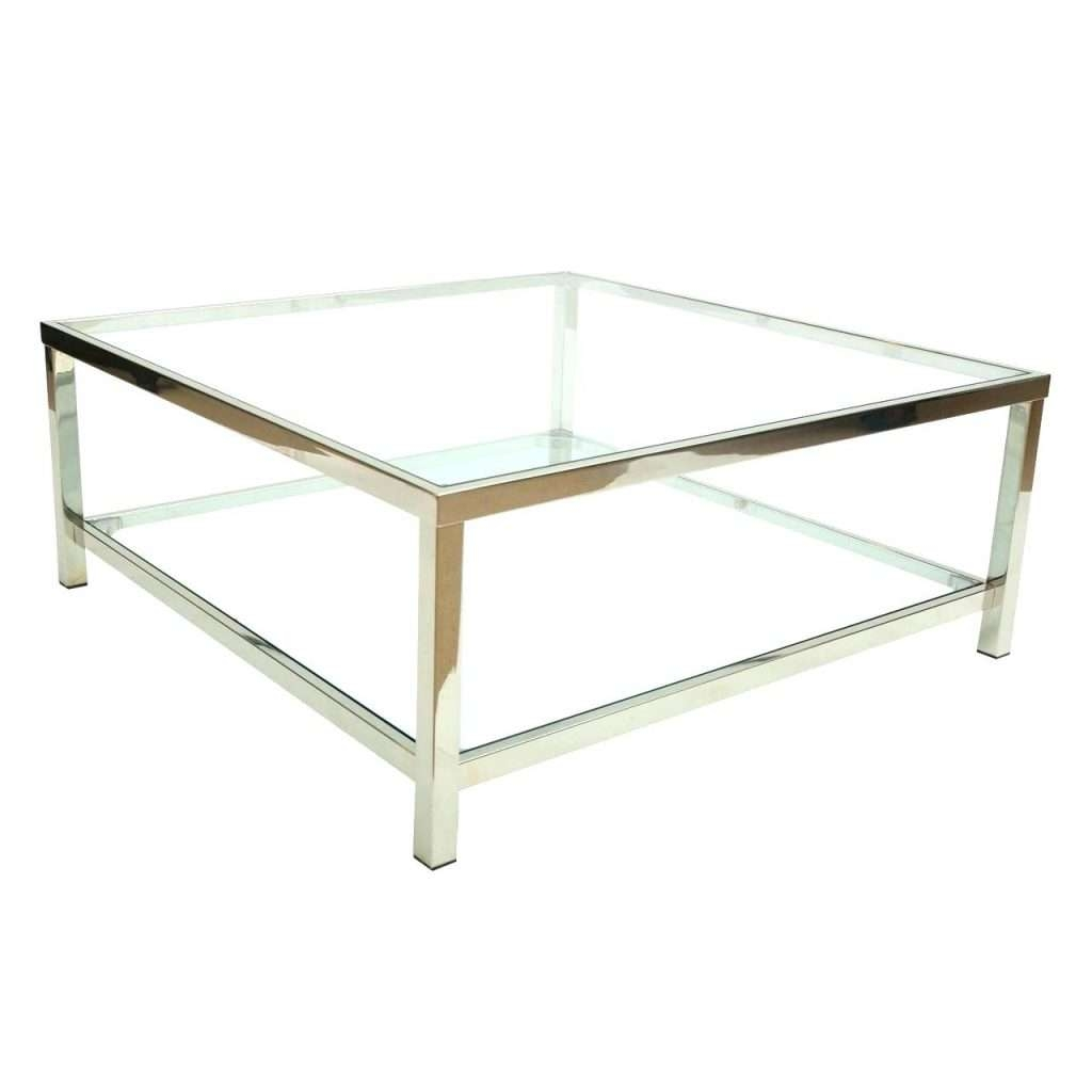 Side Table ~ Chrome Side Table Glass Coffee Square Rectangle Great Throughout 2018 Rectangle Glass Chrome Coffee Tables (View 18 of 20)