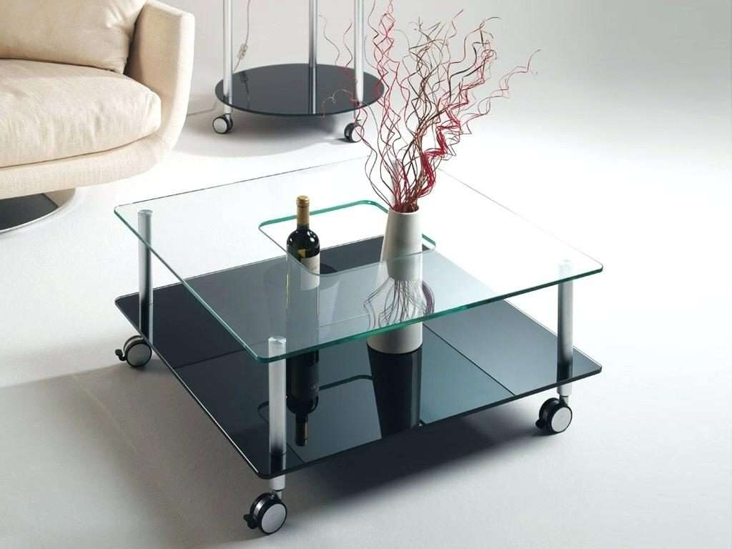 Side Table ~ Side Table On Casters Glass Coffee With Wheels Round For Famous Glass Coffee Tables With Casters (View 15 of 20)