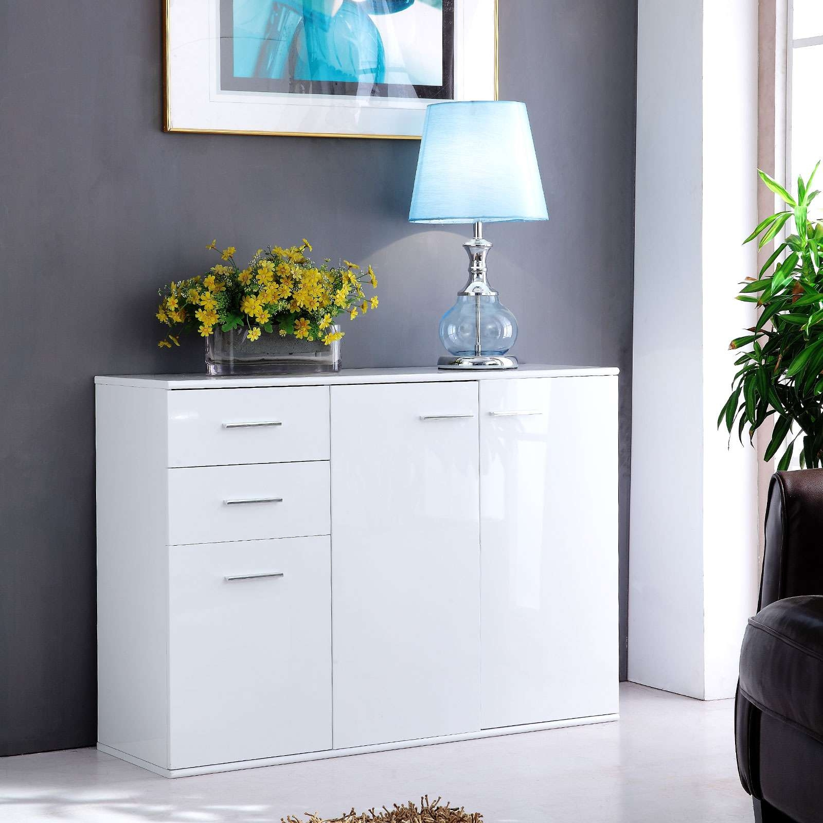 Sideboard Buffet Cabinet High Gloss White Storage Cupboard Unit 2 Intended For White Sideboards Cabinets (View 20 of 20)