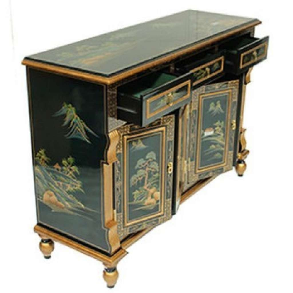 Sideboard Dark Green Lacquered Oriental Sideboard With Oriental Throughout Green Sideboards (View 11 of 20)