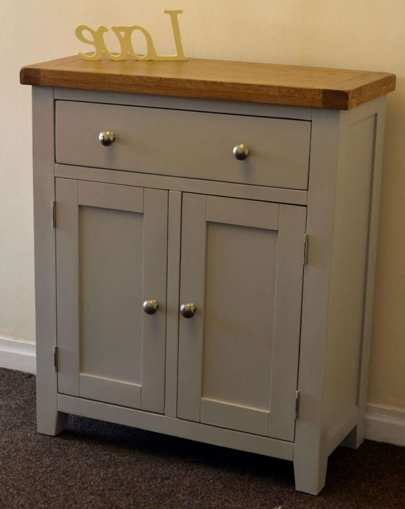 Sideboard Dorset French Grey Painted Oak Pine 2 Door Slim In Slim Oak Sideboards (View 7 of 20)