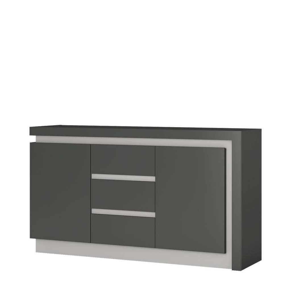 Sideboard Grey High Gloss 2 Door 3 Drawer Sideboard Homegenies Inside High Gloss Grey Sideboards (View 13 of 20)