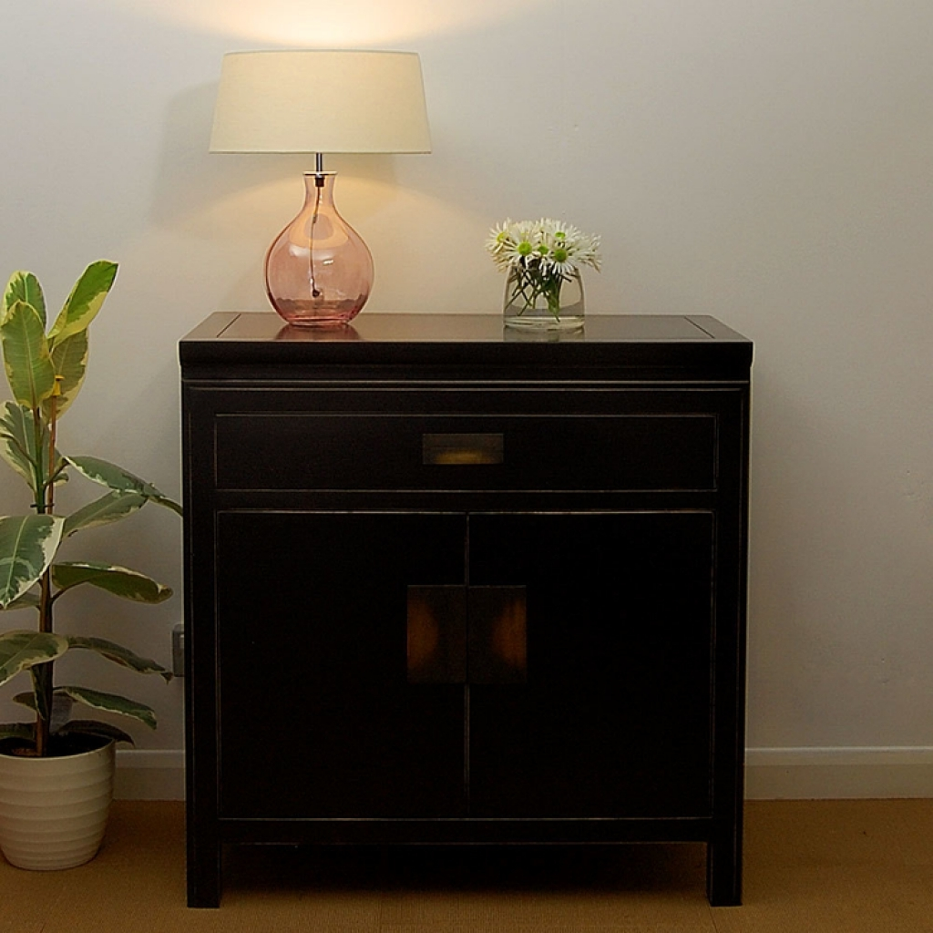 Sideboard Hanoi Black Lacquer Oriental Small Sideboard With Small Sideboards Cabinets (View 11 of 20)