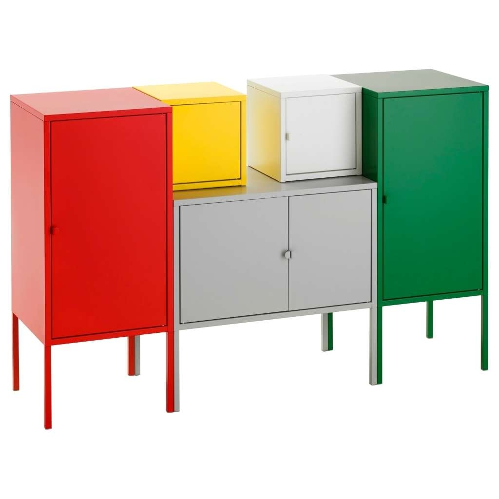 Sideboard Lixhult Storage Combination White/red/yellow/green/grey Throughout Ikea Red Sideboards (View 14 of 20)