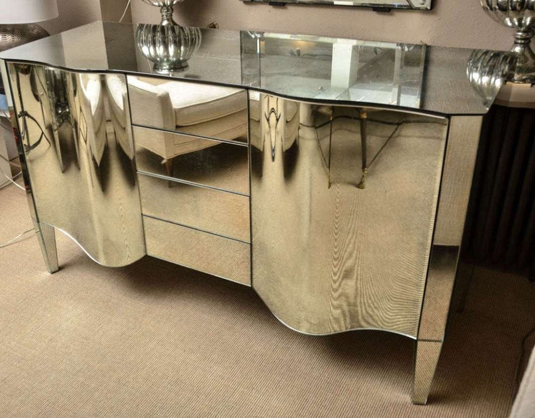 Sideboard : Mid Century Mirrored Sideboard Awesome Mirrored Intended For Mirrored Sideboards (View 18 of 20)