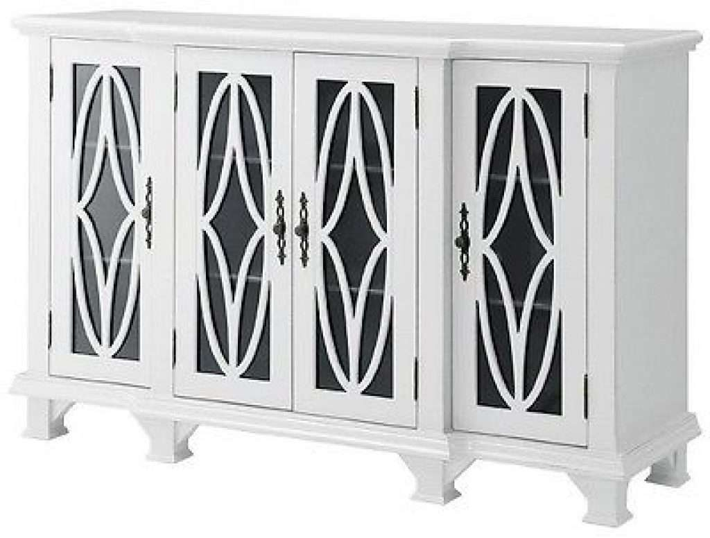 Sideboard Modern Accent Buffet Credenza Sideboard 4 Glass Door Within White Sideboards With Glass Doors (View 14 of 20)
