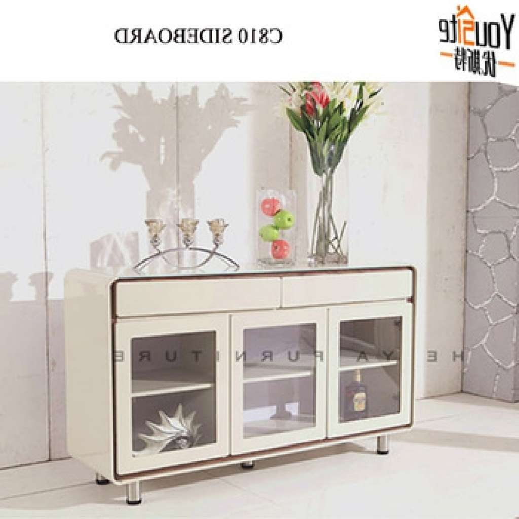 Sideboard Modern Cream Color High Gloss Sideboard With Glass Door In High Gloss Cream Sideboards (View 6 of 20)