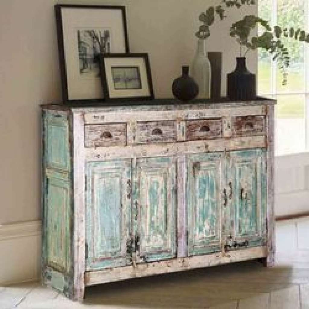 Sideboard Oklahoma Farmhouse Distressed Hand Painted 4 Drawer With Regard To Distressed Buffet Sideboards (View 9 of 20)