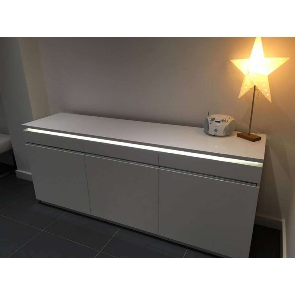 Sideboard Orde White High Gloss Sideboard With Lights Sideboards Intended For Sideboards With Lights (View 2 of 20)