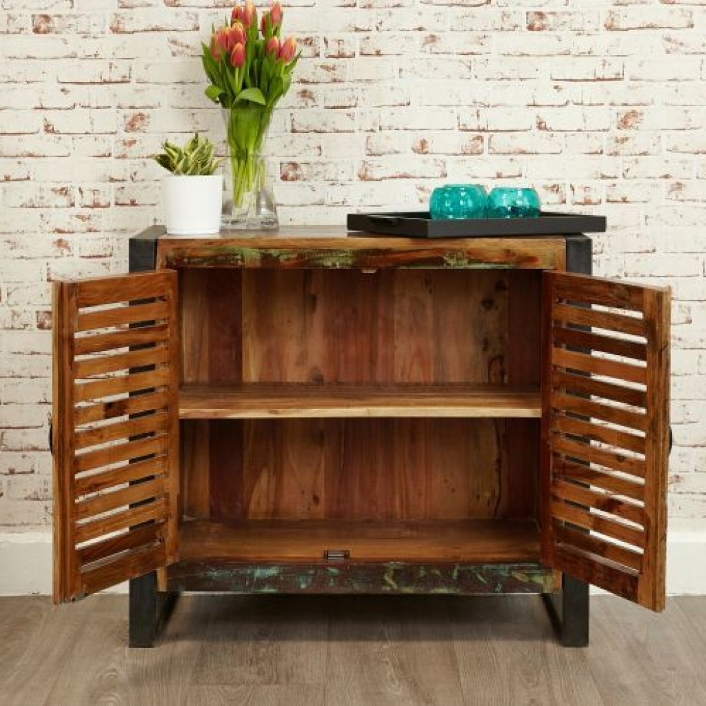 Sideboard Shoreditch Rustic Two Door Small Sideboard Reclaimed In Small Sideboards Cabinets (View 10 of 20)