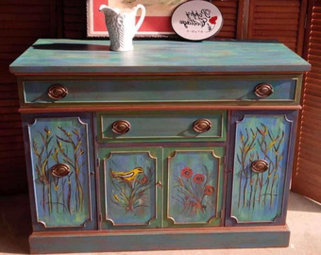 Sideboard Sideboard French Provincial Bow Front Vintage Buffet With Hand Painted Sideboards (View 18 of 20)