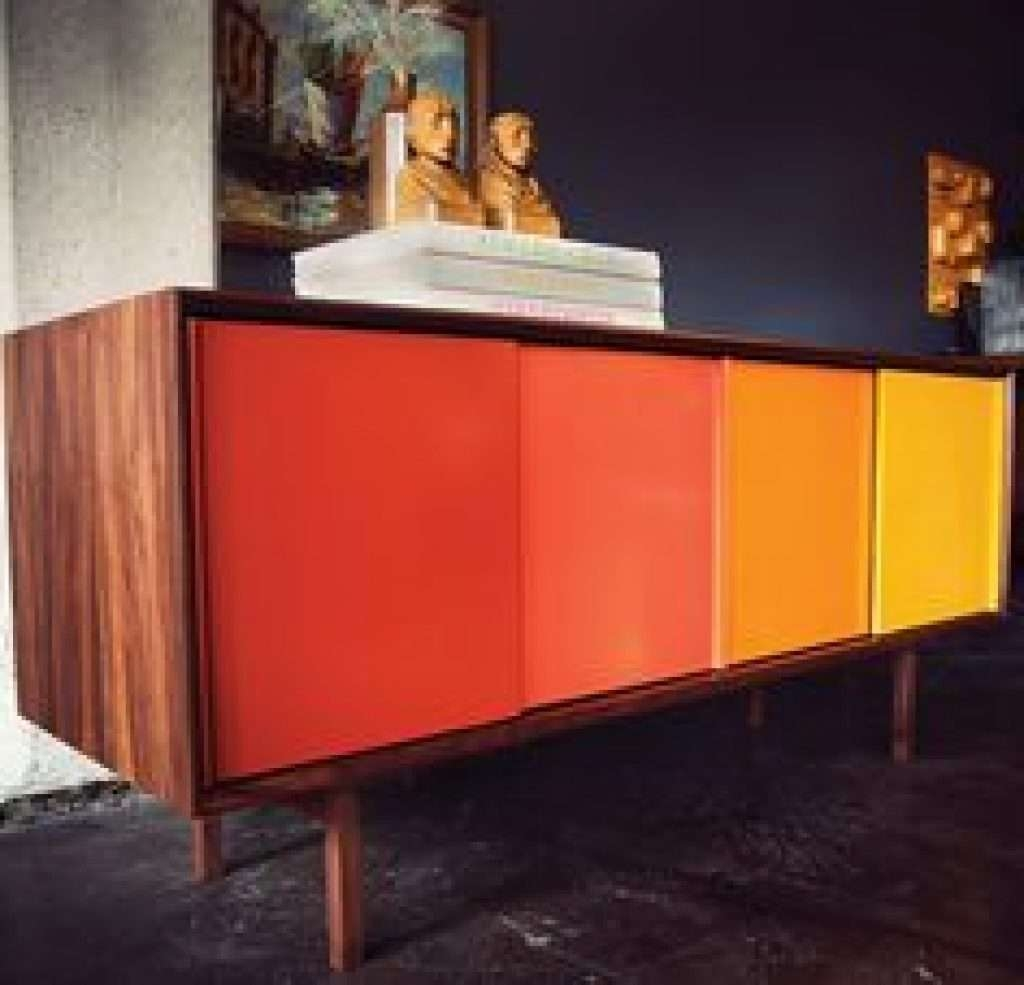 Sideboard Square Contemporary Sideboard With Sliding Doors Inside Colorful Sideboards (View 19 of 20)