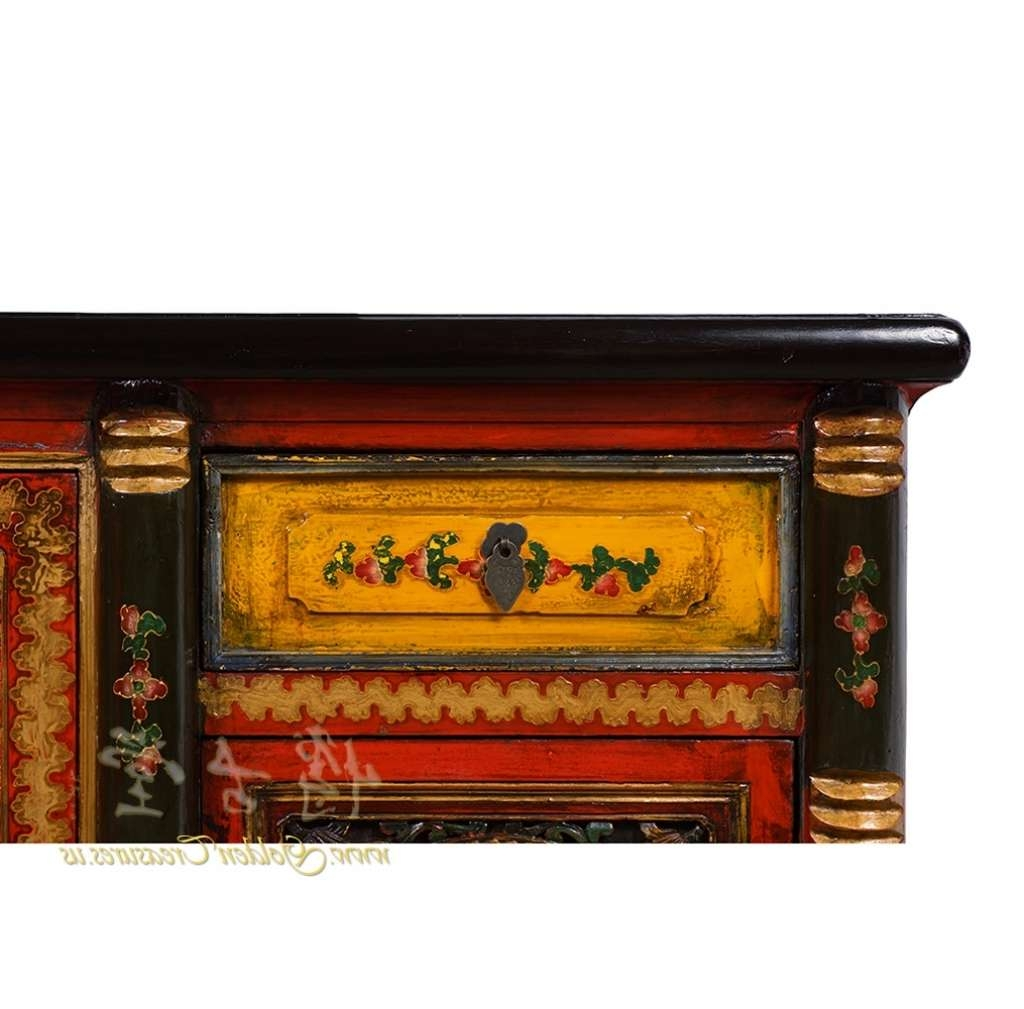 Sideboard Tibetan Antique Colorful Hand Painted Buffet Table Throughout Hand Painted Sideboards (View 20 of 20)