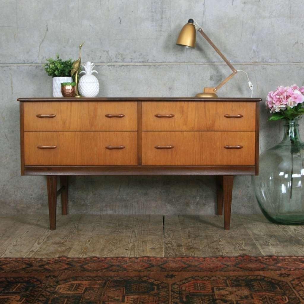 Sideboard Vintage Teak Lowline Chest Of Drawers/sideboard Pedlars With Regard To Vintage Sideboards (View 12 of 20)