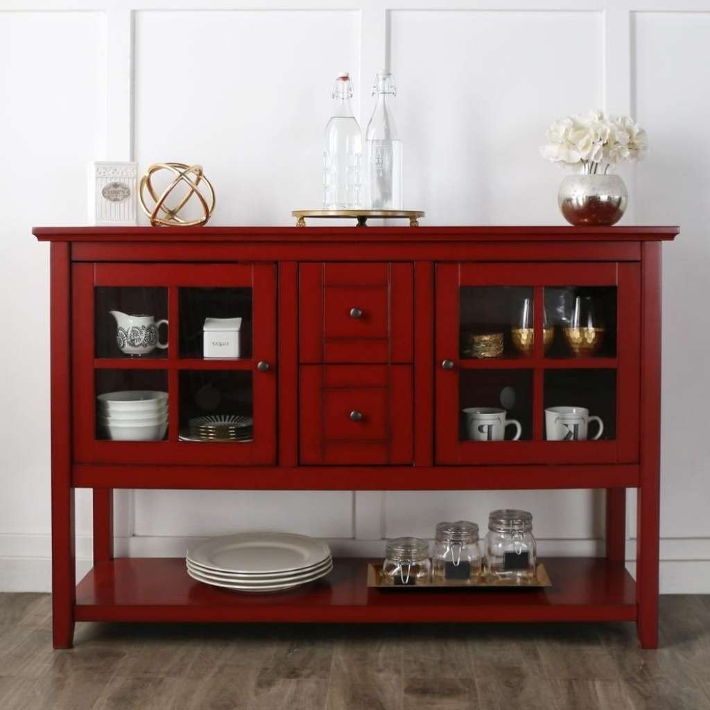 Sideboard Walker Edison Furniture Company Antique Red Buffet With Pertaining To Red Buffet Sideboards (View 18 of 20)