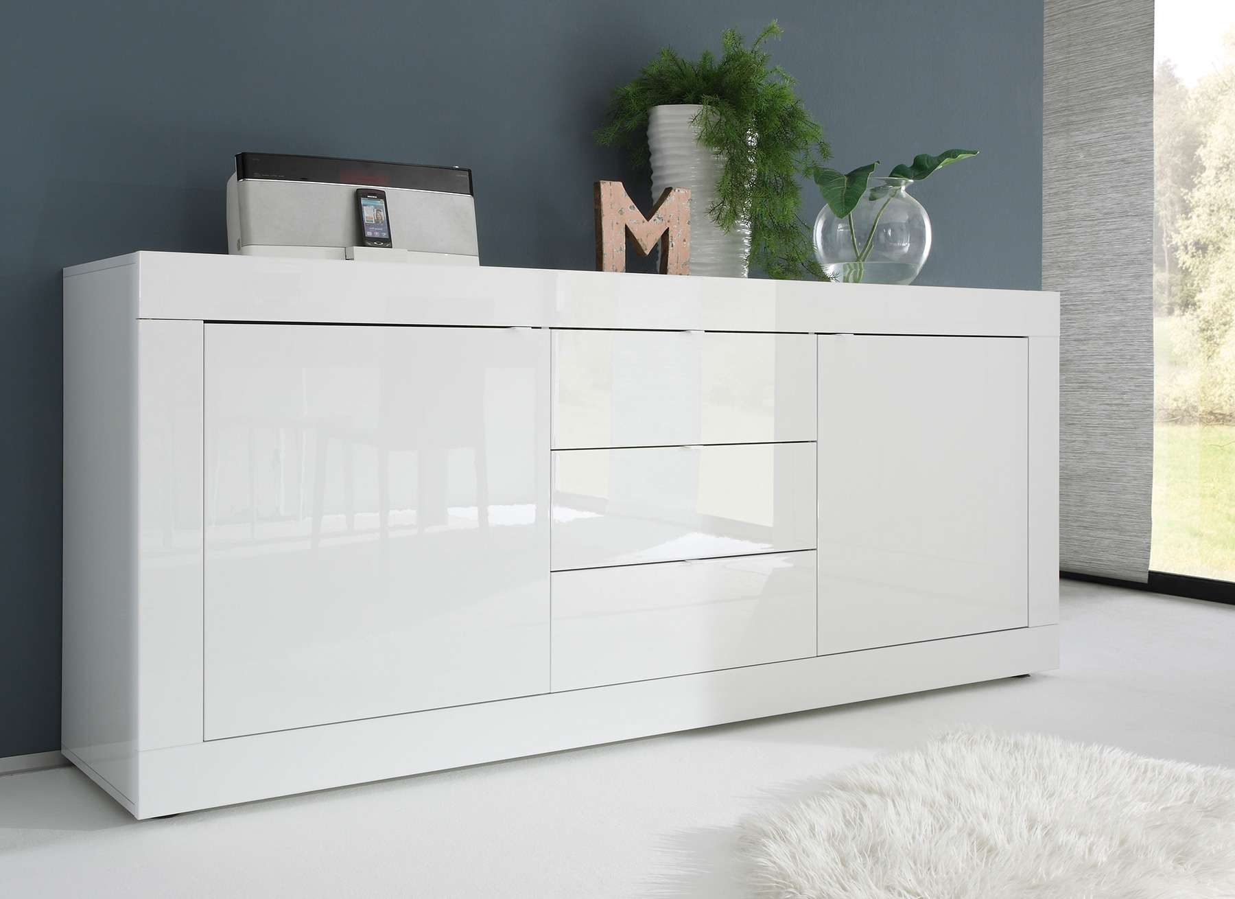 Sideboard Weiß Hochglanz / Eiche Wenge Caserta18 – Designermöbel With Kommoden Sideboards (View 17 of 20)