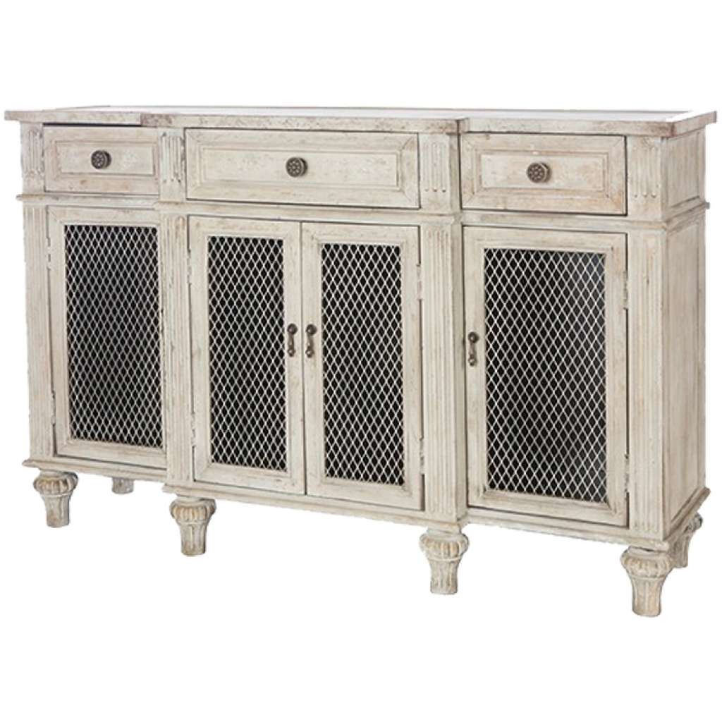 Sideboard White Washed French Country Sideboard Wire Door Fronts Regarding French Country Sideboards (View 11 of 20)
