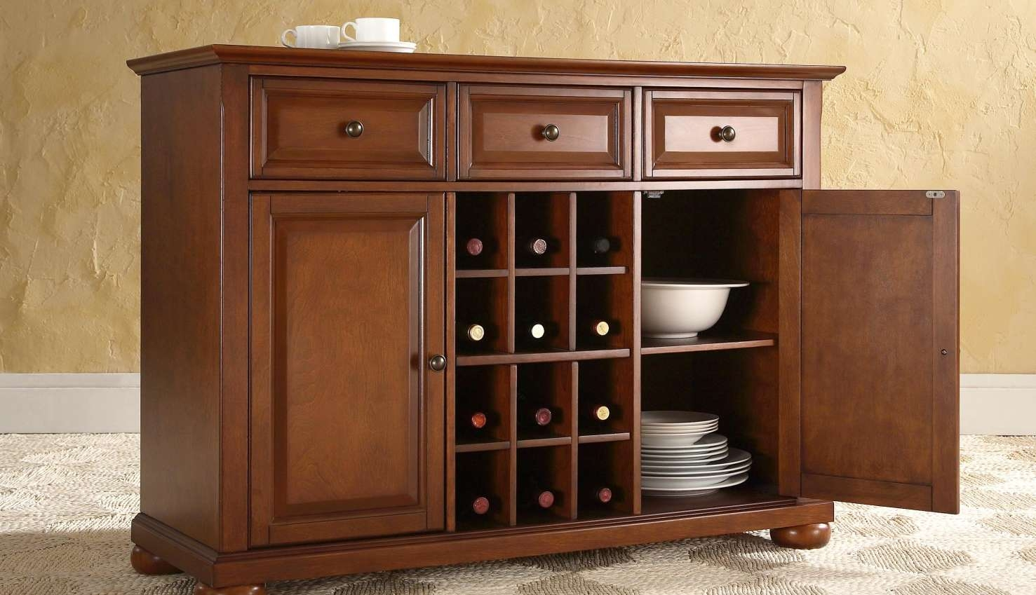 Sideboard : Wine Buffet Table Buffet Storage Cabinet Dining Room Within Buffets And Sideboards (View 14 of 20)