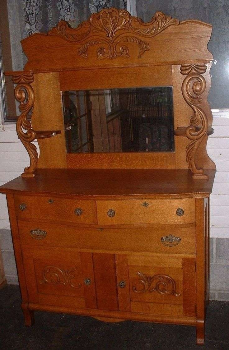 Sideboard With Mirror Oak Throughout Antique Sideboards Buffets (View 14 of 20)