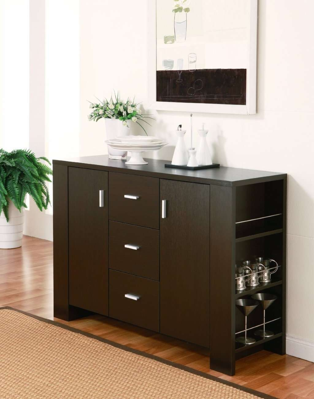 Sideboards: Glamorous Buffet Servers Furniture Buffet Hutch Regarding Espresso Sideboards (View 4 of 20)