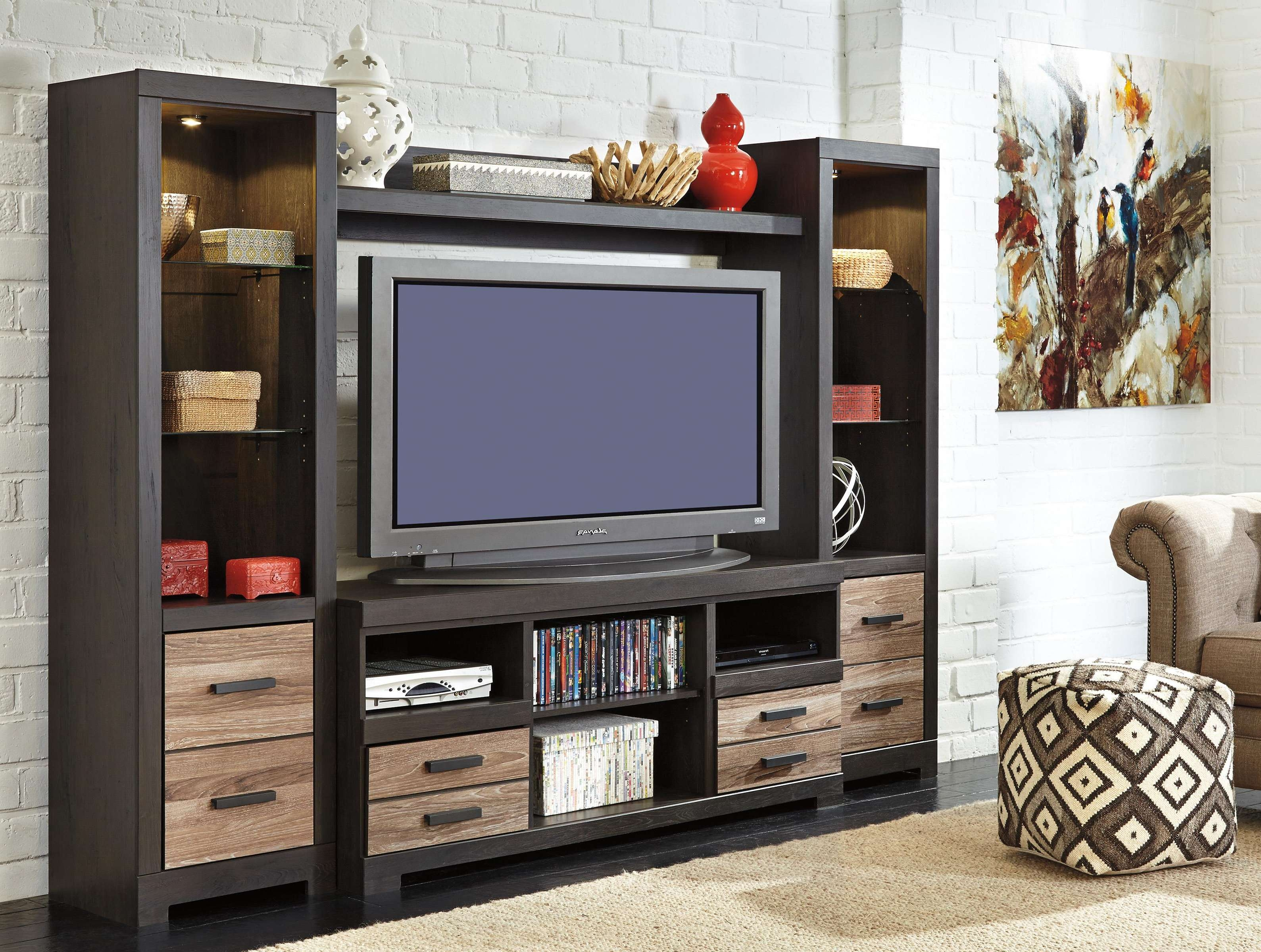Signature Designashley Harlinton Large Tv Stand With Fireplace With Regard To Large Tv Cabinets (View 17 of 20)