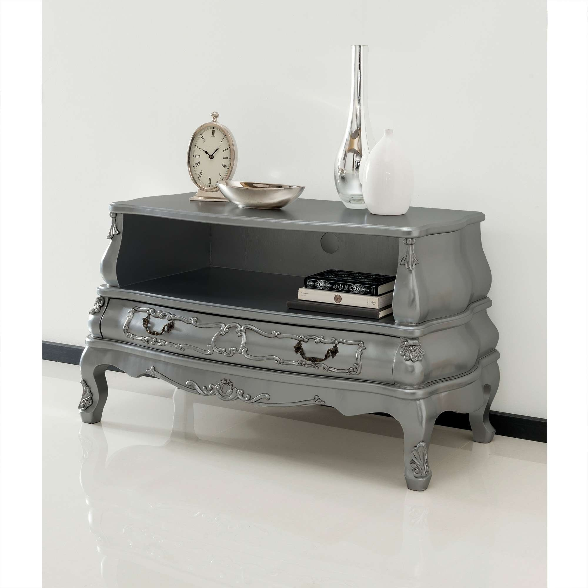 Silver Bergere Antique French Tv Cabinet | Ornate Detailed Inside French Style Tv Cabinets (View 18 of 20)