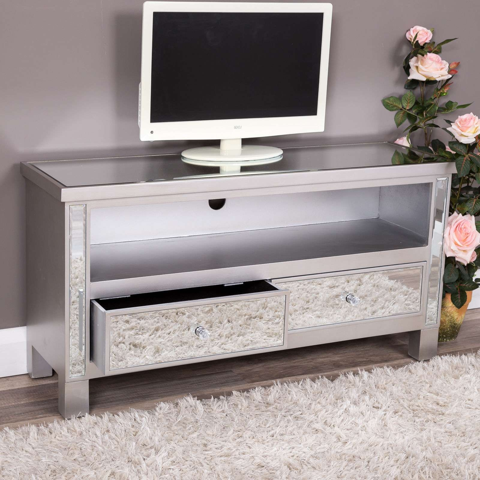 Silver Mirrored Glass 2 Drawer Tv Entertainment Cabinet Stand Unit Intended For Mirror Tv Cabinets (View 5 of 20)
