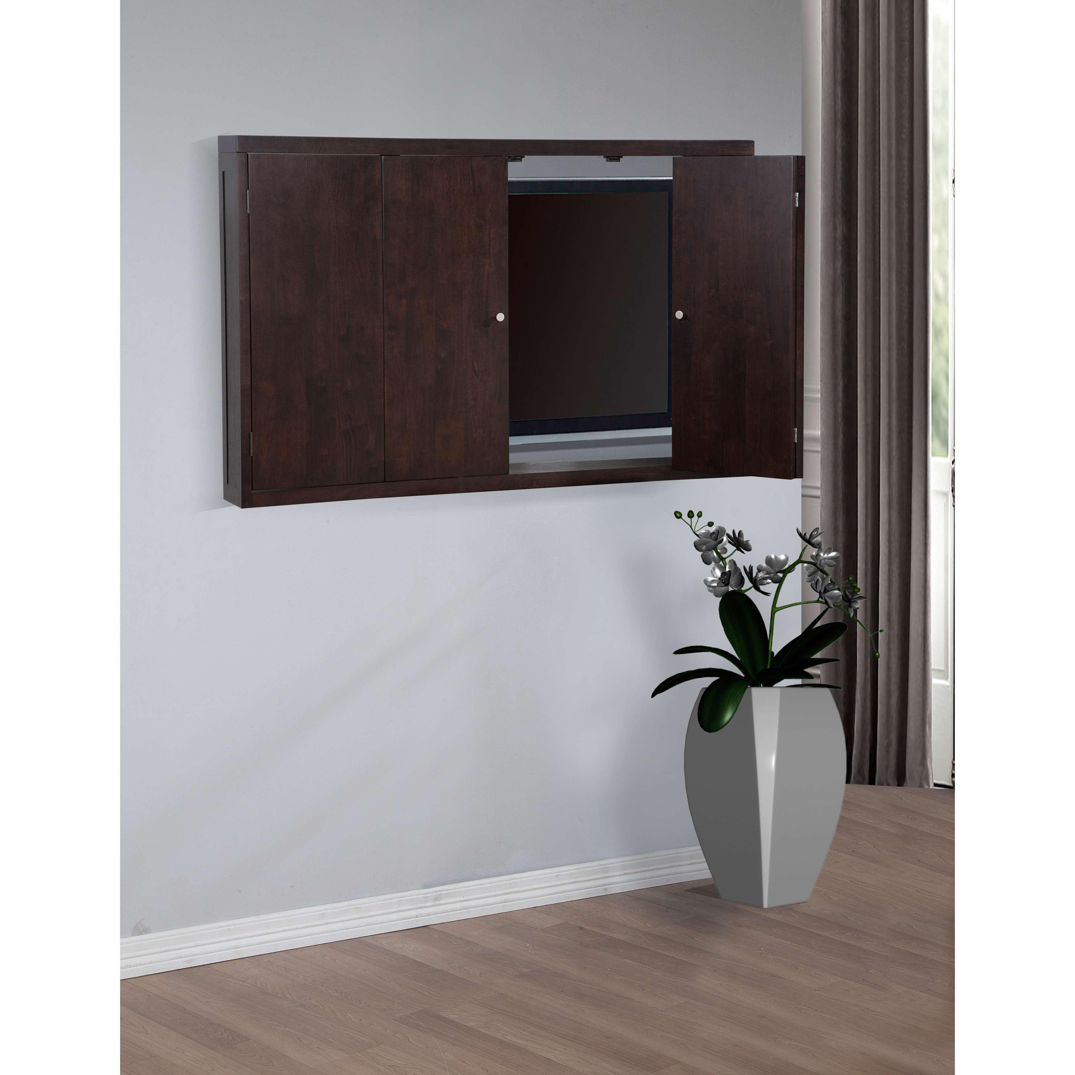 Simple Wall Mounted Tv Cabinet With Doors With Cool Flower On Vase Pertaining To Wall Mounted Tv Cabinets With Doors (View 4 of 20)