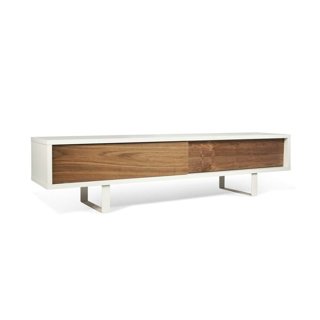 Slide Low Tv Stand | Pure White / Walnut, Tema Home – Modern Manhattan Pertaining To Walnut Tv Cabinets (View 9 of 20)