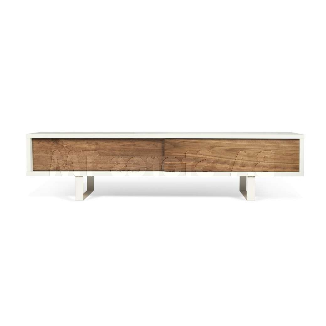 Slide Low Tv Stand | Pure White / Walnut | Tv Stands Th In Walnut Tv Cabinets With Doors (View 15 of 20)