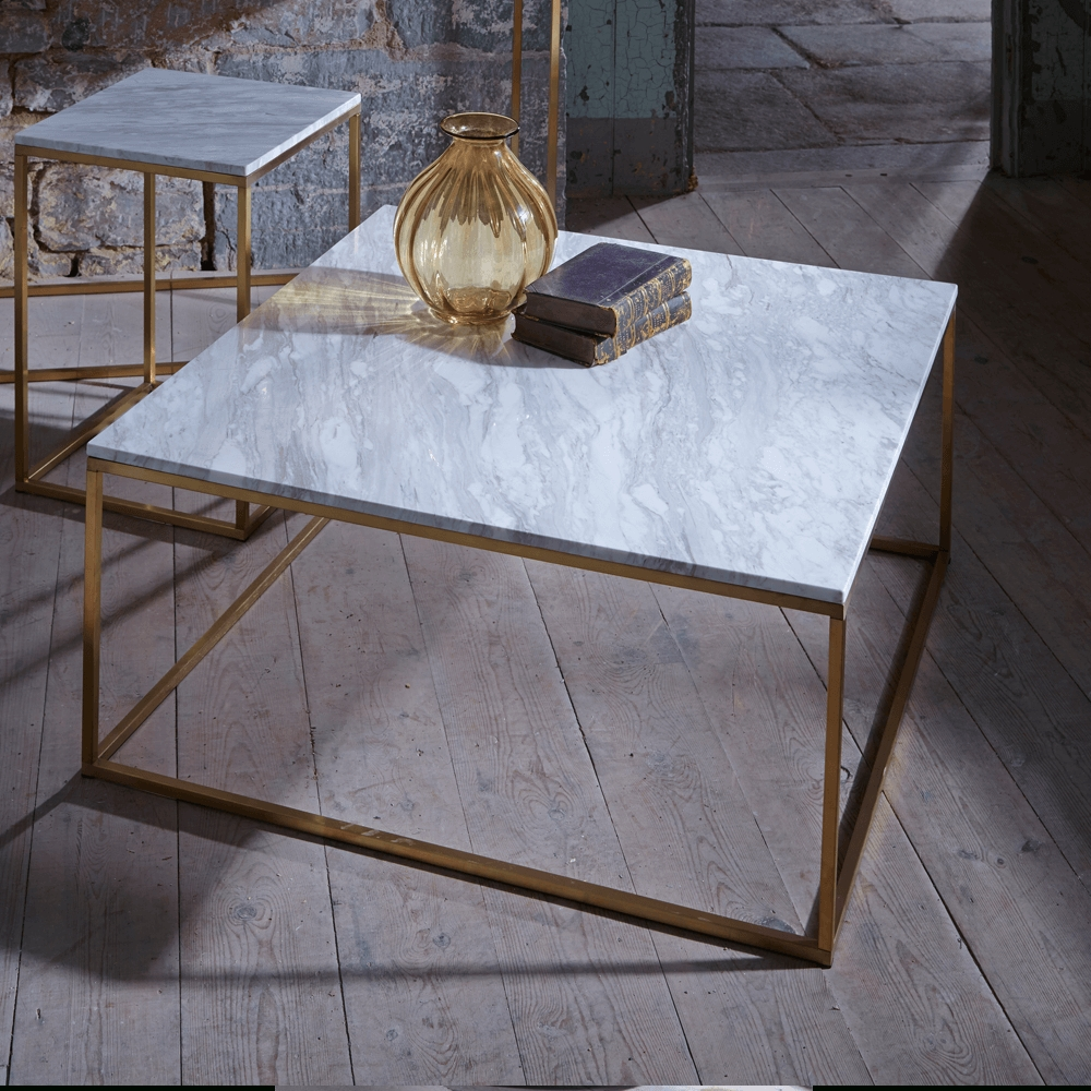 Slimline Retro Square Coffee Tables – Marble, Walnut And Glass Regarding Most Popular Range Coffee Tables (View 17 of 20)