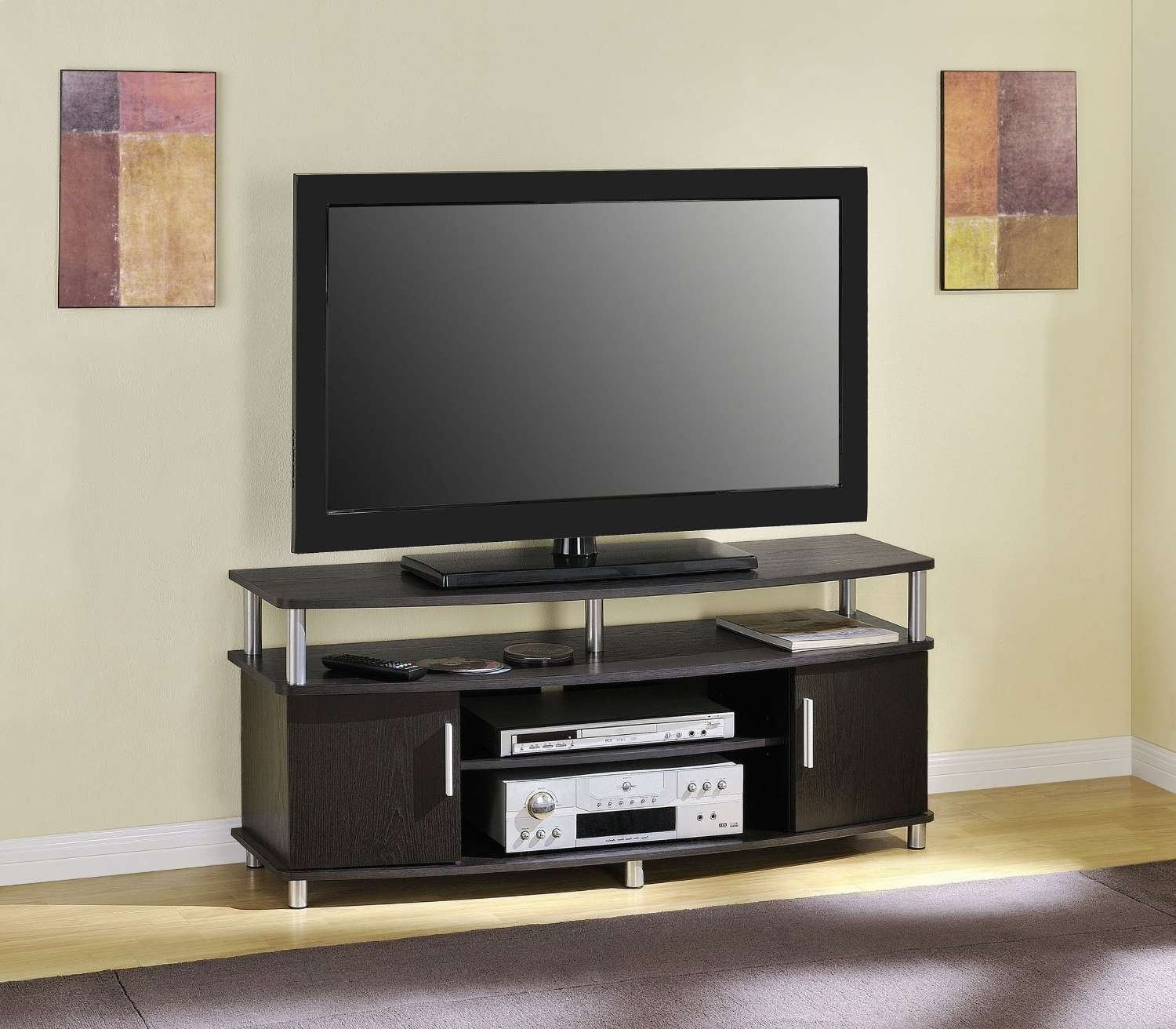 Small Black Oak Wood Tv Stand With Countertop And Cabinet Storage Regarding Modern Tv Cabinets For Flat Screens (View 14 of 20)