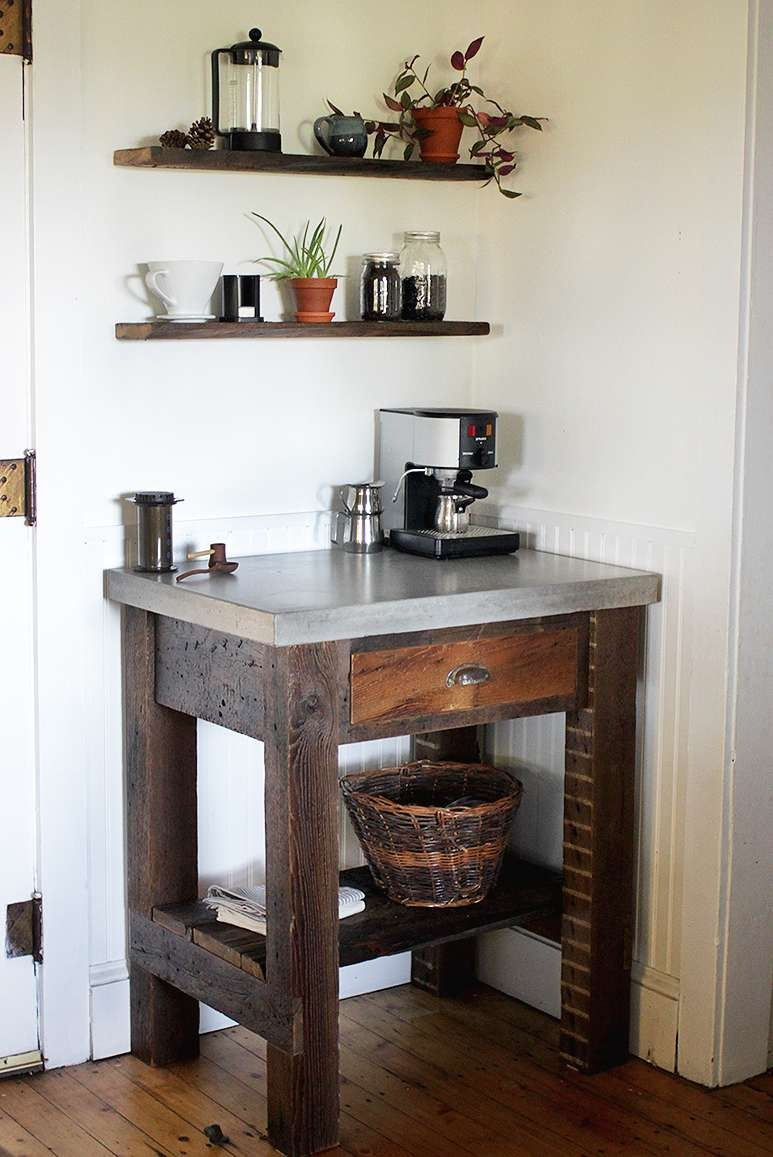 Small Corner Coffee Station Table With Stainless Steel Countertop Intended For Newest Corner Coffee Tables (View 8 of 20)