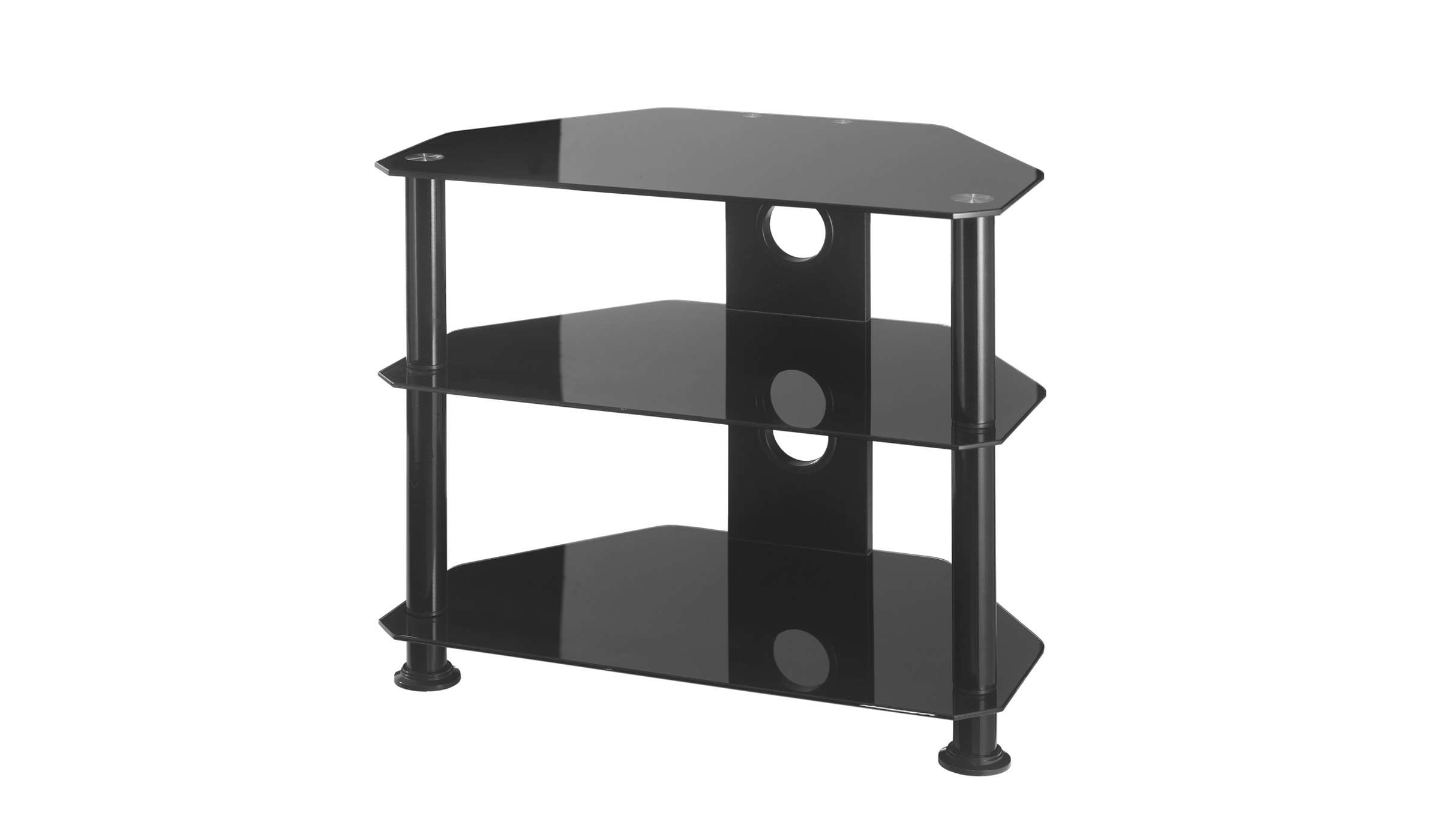 Small Glass Corner Tv Stand Up To 26 Inch Tv | Mmt Db600 Regarding Black Glass Tv Cabinets (View 3 of 20)