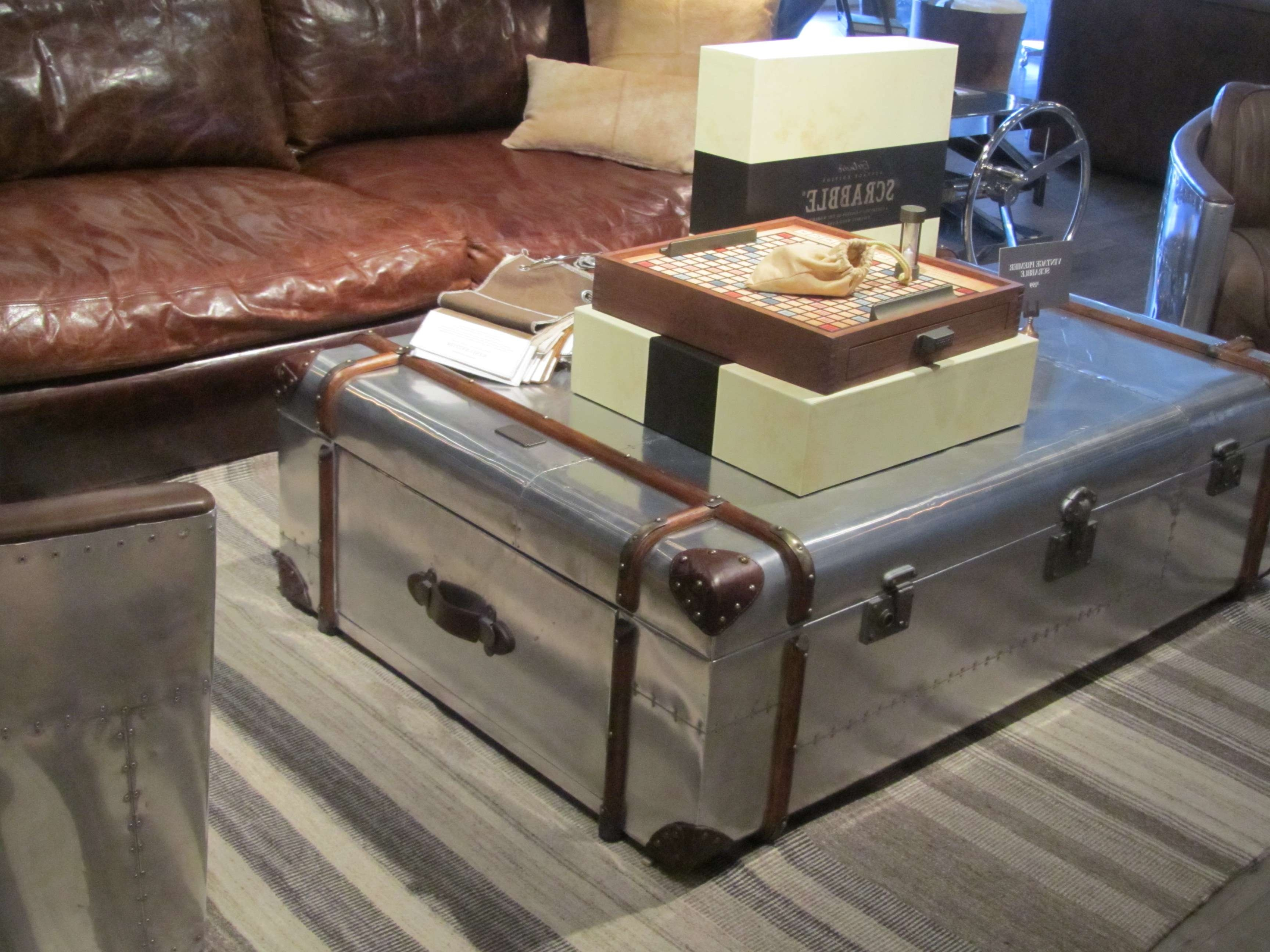 Small Living Room Spaces With Silver Trunk Coffee Table With Throughout Trendy Steamer Trunk Stainless Steel Coffee Tables (View 3 of 20)