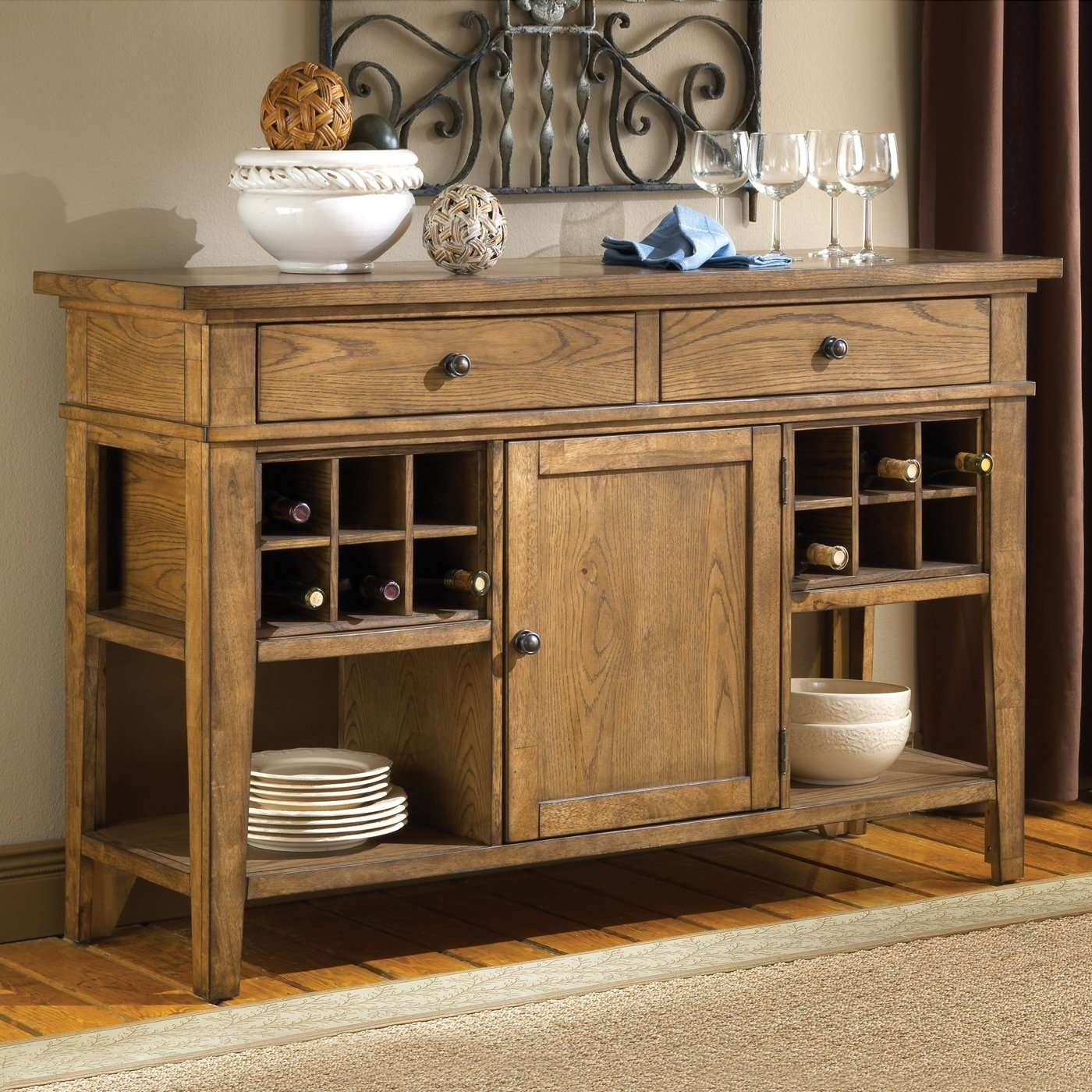 Small Wine Buffet Cabinetent Awesome Solid Oak Dining Room Buffets Throughout Buffets And Sideboards (View 20 of 20)