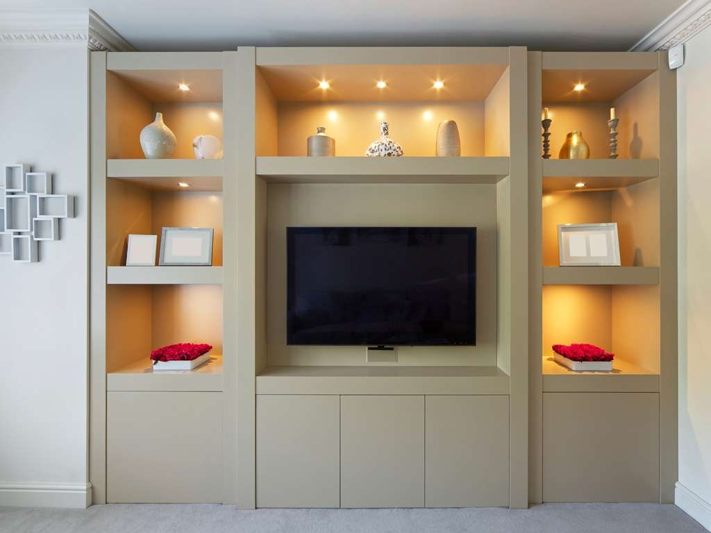 Smooth Modern Built In Display Cabinet | Bespoke Furniture In Bespoke Tv Cabinets (View 7 of 20)