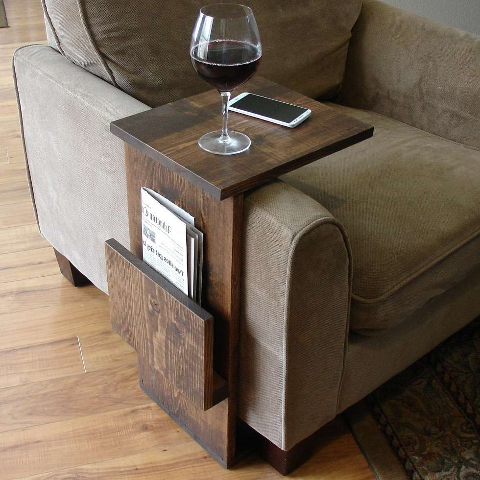 Sofa Chair Arm Rest Tray Table Stand With Side Storage Slot For Best And Newest Coffee Tables With Magazine Storage (View 16 of 20)