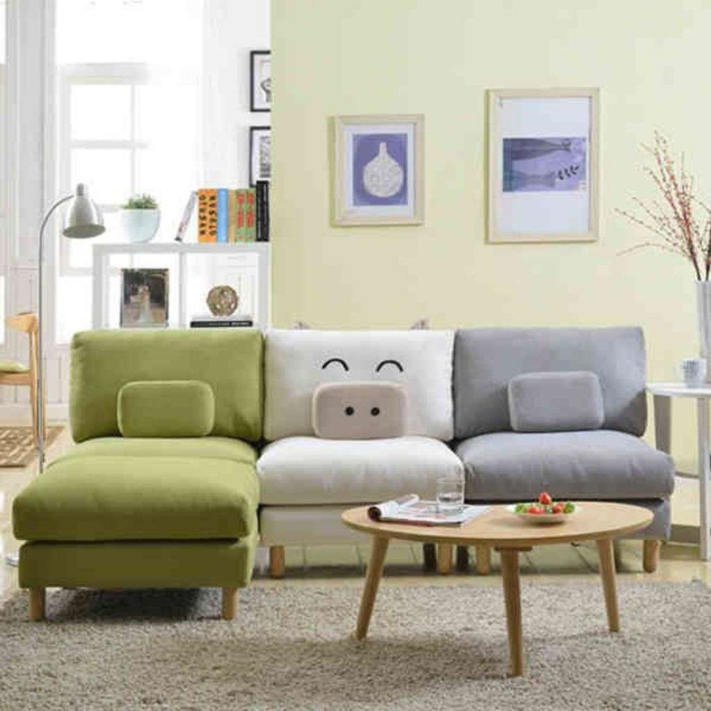 Soft Grey Carpet With Wooden Coffee Table And Colorful Small With 2018 Coffee Table For Sectional Sofa (View 14 of 20)