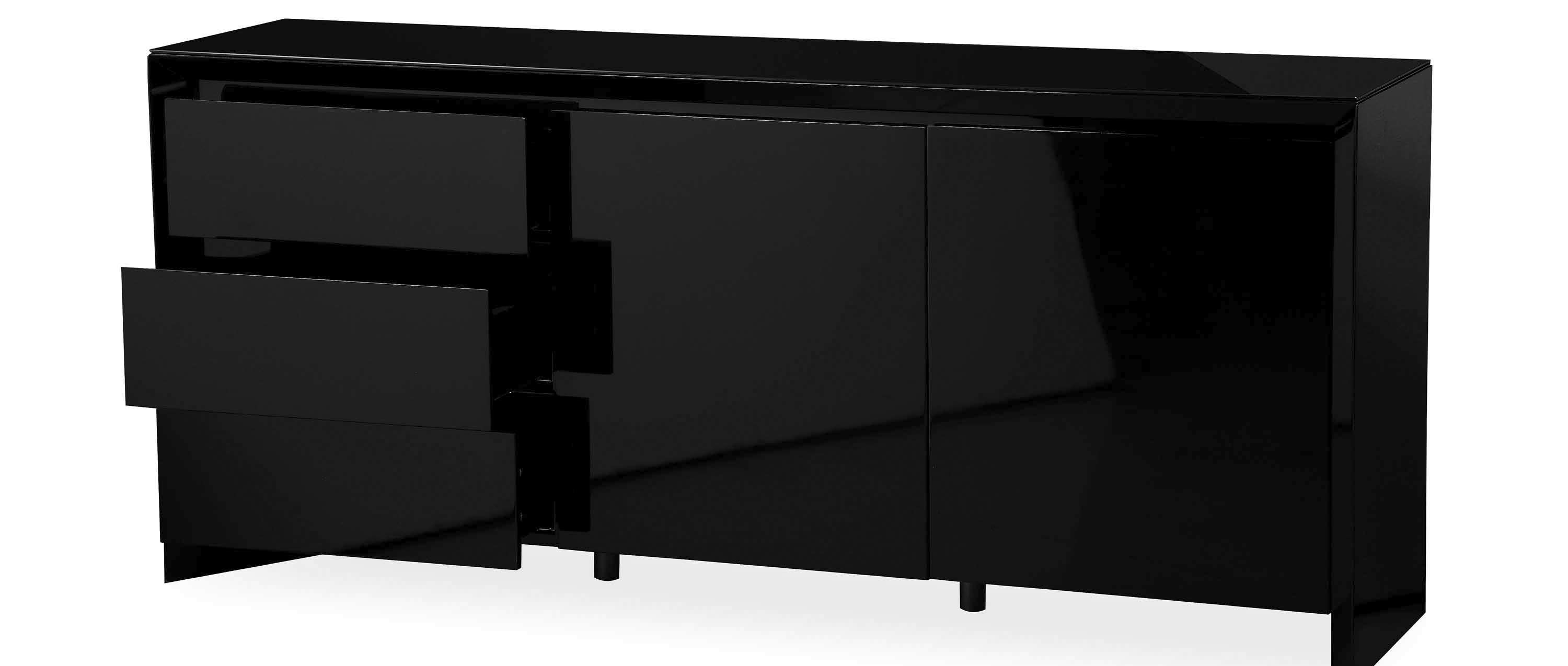 Soho – Extra Large Sideboard – Black High Gloss Pertaining To Black Sideboards (View 6 of 20)