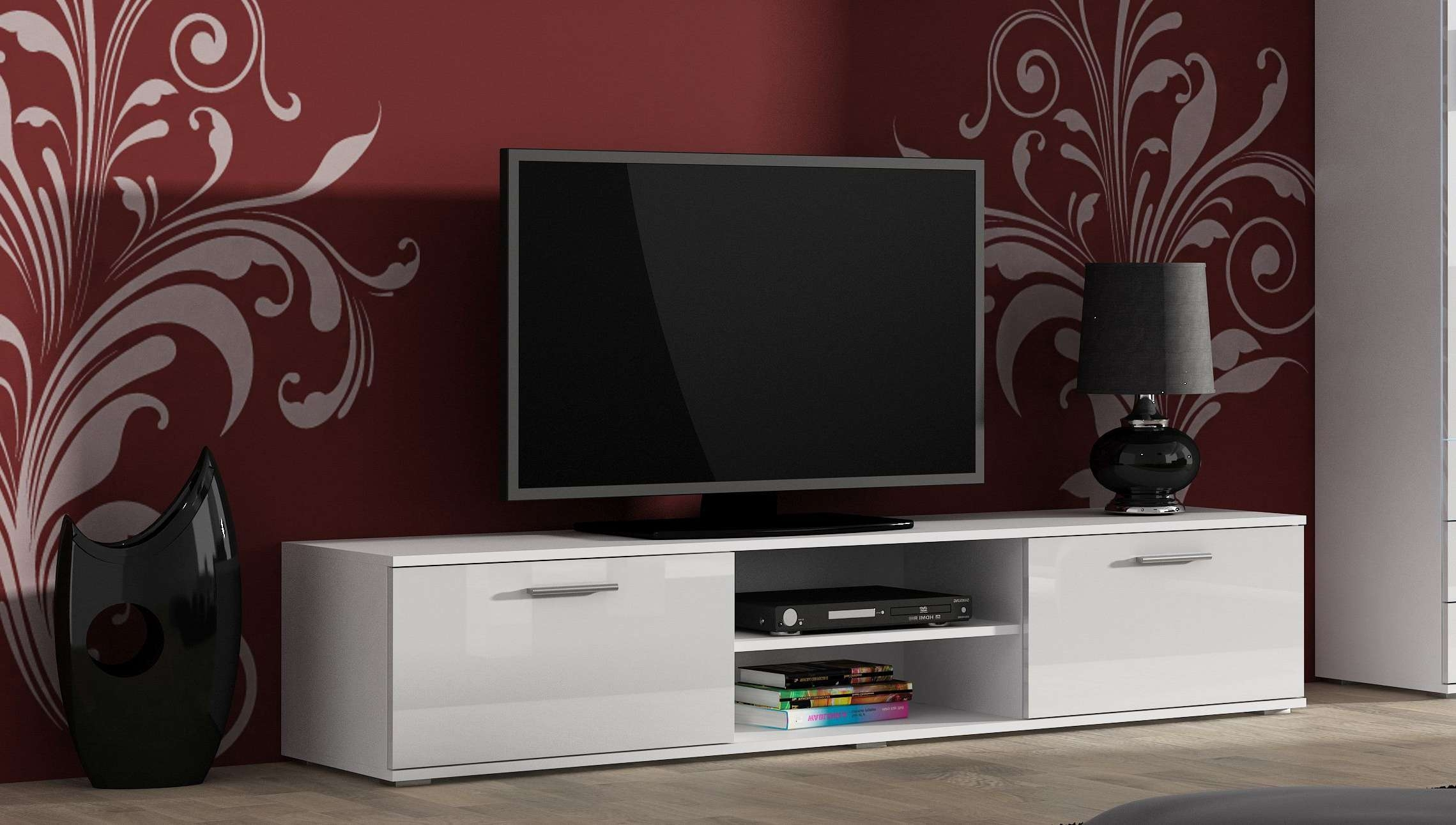 Soho Modern High Gloss Tv Cabinet Entertainment Unit 2 Doors With Within White Gloss Tv Cabinets (View 15 of 20)
